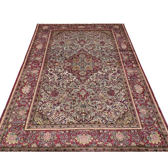 Art Nouveau Late 19th-Century Antique Silk Persian Kashan with Jewel-Tone Colors For Sale - Image 3 of 10