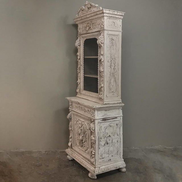 French 19th Century French Renaissance Painted Hunt Bookcase Buffet a Deux Corps For Sale - Image 3 of 12