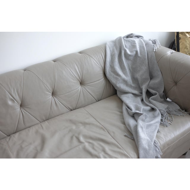 Contemporary West Elm Chester Tufted Leather Sofa For Sale - Image 3 of 4