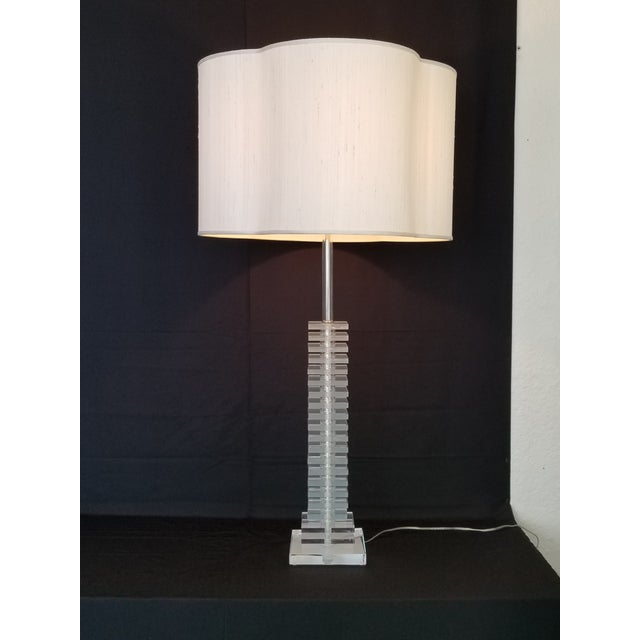 Vintage Art Deco Skyscraper Stacked Lucite and Chrome Table Lamps - a Pair - Mid Century Modern Palm Beach Boho Chic For Sale - Image 10 of 12