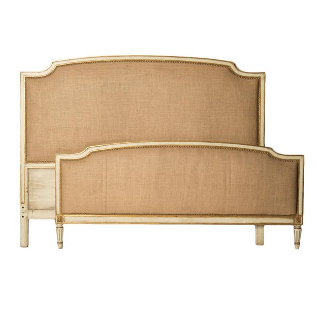 """A French Louis XV style painted Queen size burlap upholstered bed, circa 1940. Interior: 80""""x 63"""" Foot board: 28.5"""" Tall"""