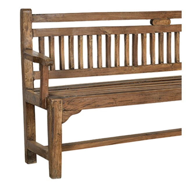 Vintage long Colonial teak wood bench. Great indoors or outdoors. Maintain the wood each season with teak oil or enjoy...