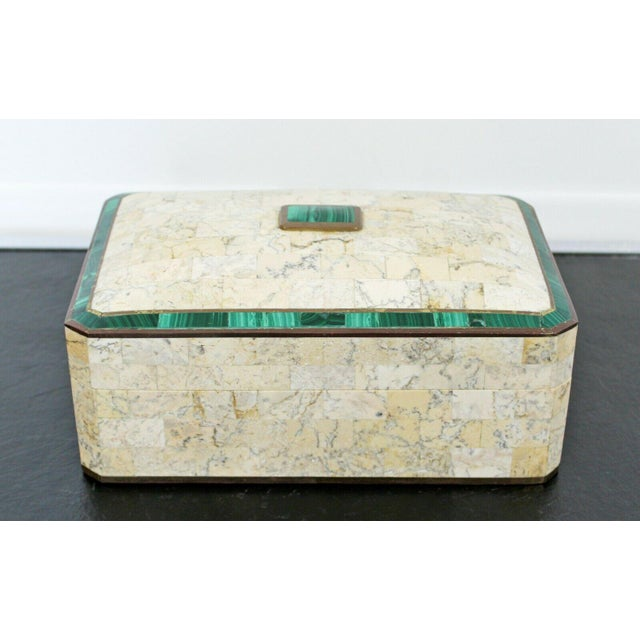 Mid Century Modern Maitland Smith Brass Tessellated Stone Lidded Box Vessel 70s For Sale - Image 11 of 11