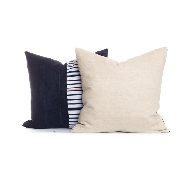 Boho Chic Vintage Indigo Pillows - A Pair For Sale - Image 3 of 3