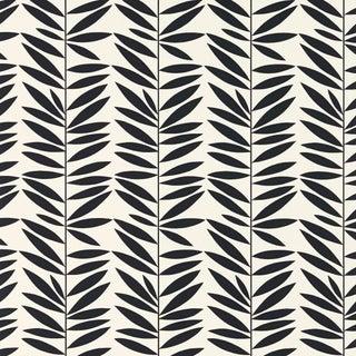 Sample - Schumacher Leaf Stripe Wallpaper in Ebony For Sale