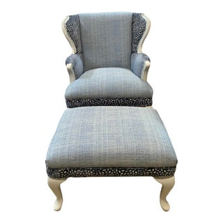 Vintage Wingback Chair & Ottoman For Sale