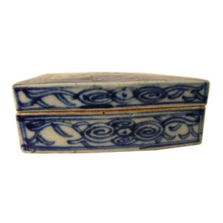 Vintage Chinese Blue and White Ceramic Box For Sale