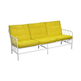 Mid Century Modern Brown Jordan Style White Patio Sofa w/ Yellow Cushions For Sale