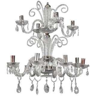 Italian Twelve Light Handblown Murano Glass 2 Tier Chandelier For Sale