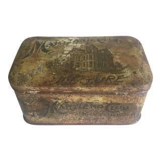 "Rare Vintage Early 1900's ""Maryland Club Mixture American Tobacco Co."" Lithograph Print Tin Box For Sale"