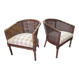 Cane Back Barrel Chairs - a Pair For Sale