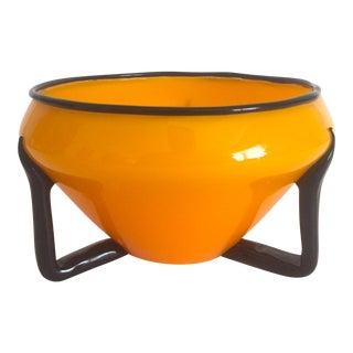 Vintage Mid-Century Modern Art Deco Czechoslovakia Hand Blown Studio Glass Bowl