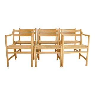 1965 Hans Wegner for Carl Hansen & Son Oak Dining Armchairs - Set of 6 For Sale