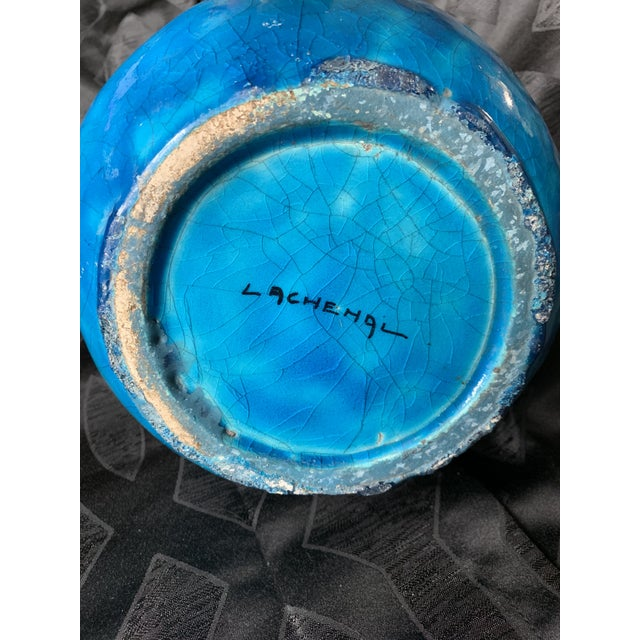 """Clay Large Turquoise """"Egyptian Blue"""" Spherical French Pottery Vase by Edmond Lachenal For Sale - Image 7 of 8"""