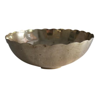 Vintage Gold Brass Scalloped Edge Decorative Bowl Dish For Sale