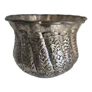 Boho Carved Metal Planter or Vessel