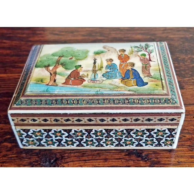 Bone Persian Handpainted Khatam Mosaic Trinket Box For Sale - Image 7 of 9