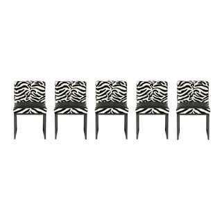 Zebra Desiron Dining Chairs - Set of 5 For Sale