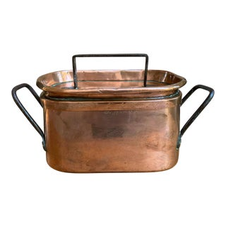 19th century Antique French Polished Copper Pot Pan Lid Iron Kitchen Vessel For Sale
