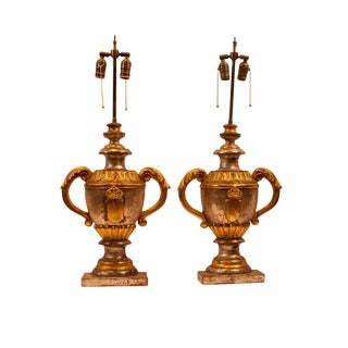 1870 Carved Wood Italian Gilt & Silver Urn Lamps - a Pair For Sale