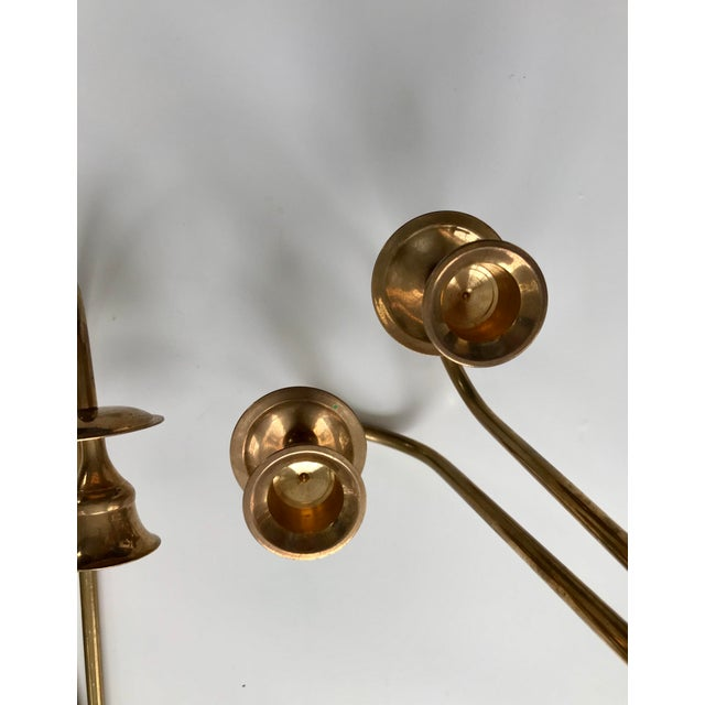 Vintage Brass Bow Candlestick Sconces - A Pair For Sale - Image 5 of 7