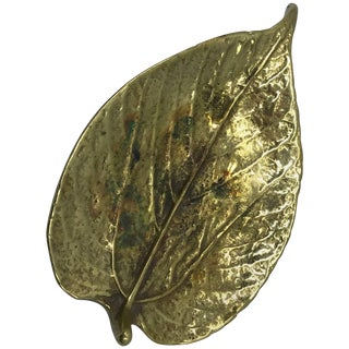 1940s Virginia Metalcrafters Brass Mulberry Leaf Sculpture For Sale