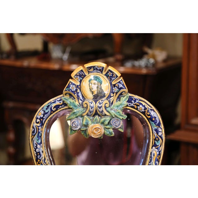Aesthetic Movement 19th Century French Painted Ceramic Vanity Mirror With Joan of Arc Medallion For Sale - Image 3 of 10
