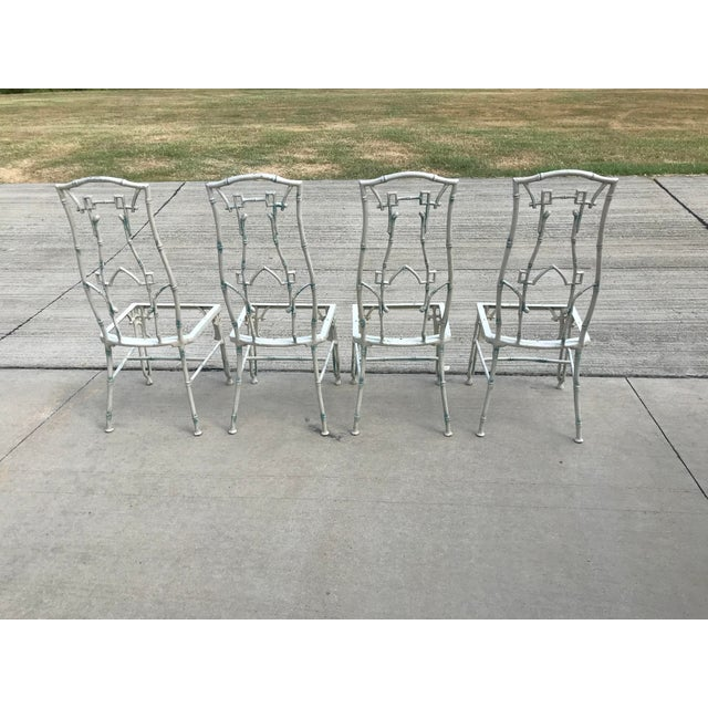 Metal 1960s Mid-Century Modern Kessler Industries Cast Aluminum Faux Bamboo Dining Set - 5 Piece Set For Sale - Image 7 of 12