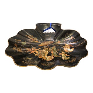 Antique Black Lacquer Chinoiserie Paper Mache Shell Form Bowl Tray For Sale