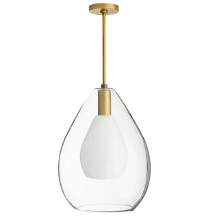 Contemporary Arteriors Antique Brass and Glass Nala Pendant For Sale