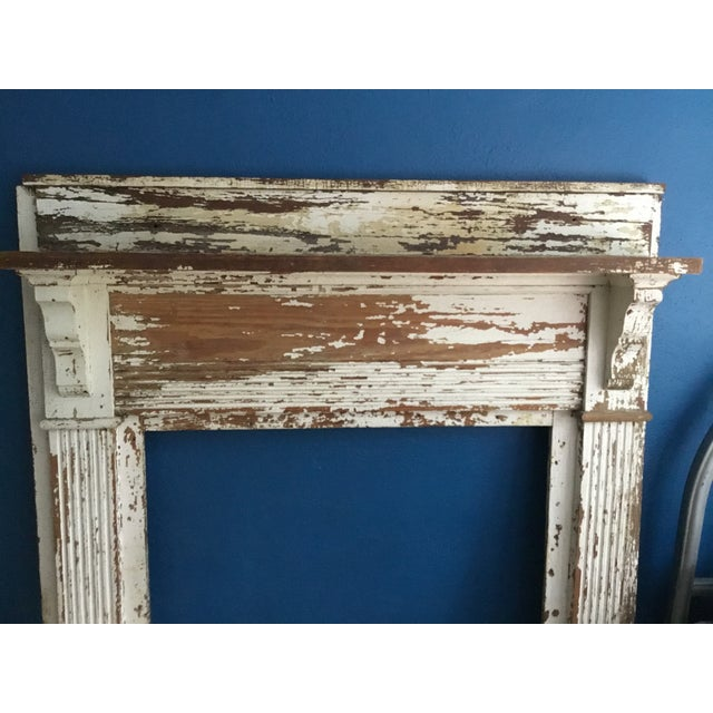 Rustic Antique Shabby Chic Wooden Mantel with Shelf For Sale - Image 3 of 11