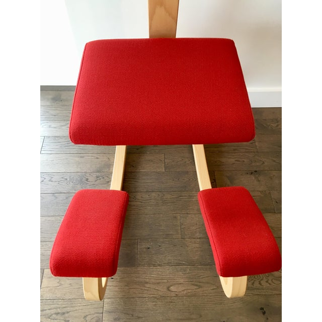 Fabric Varier Variable Balans Kneeling Chair With Backrest For Sale - Image 7 of 9