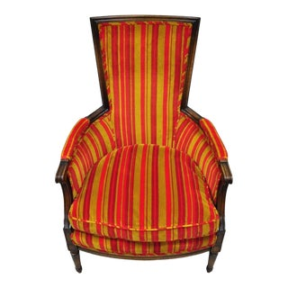 1950s Vintage Hollywood Regency French Louis XVI Style Red & Gold Fabric Arm Chair For Sale