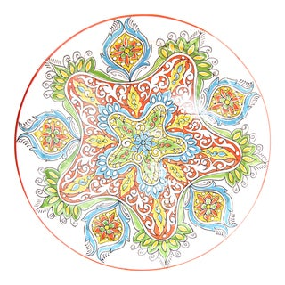 Large Moroccan Hand Painted Ceramic Plate