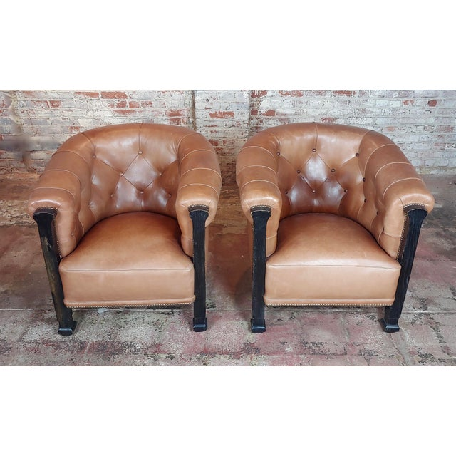 """Fabulous Vintage Club Chairs w/Tufted brown Leather-a Pair size 33 x 34 x 33"""" seat height 19"""" A beautiful piece that will..."""
