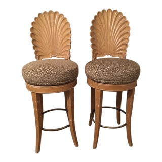 1970s Hollywood Regency Shell Back Barstools - a Pair For Sale