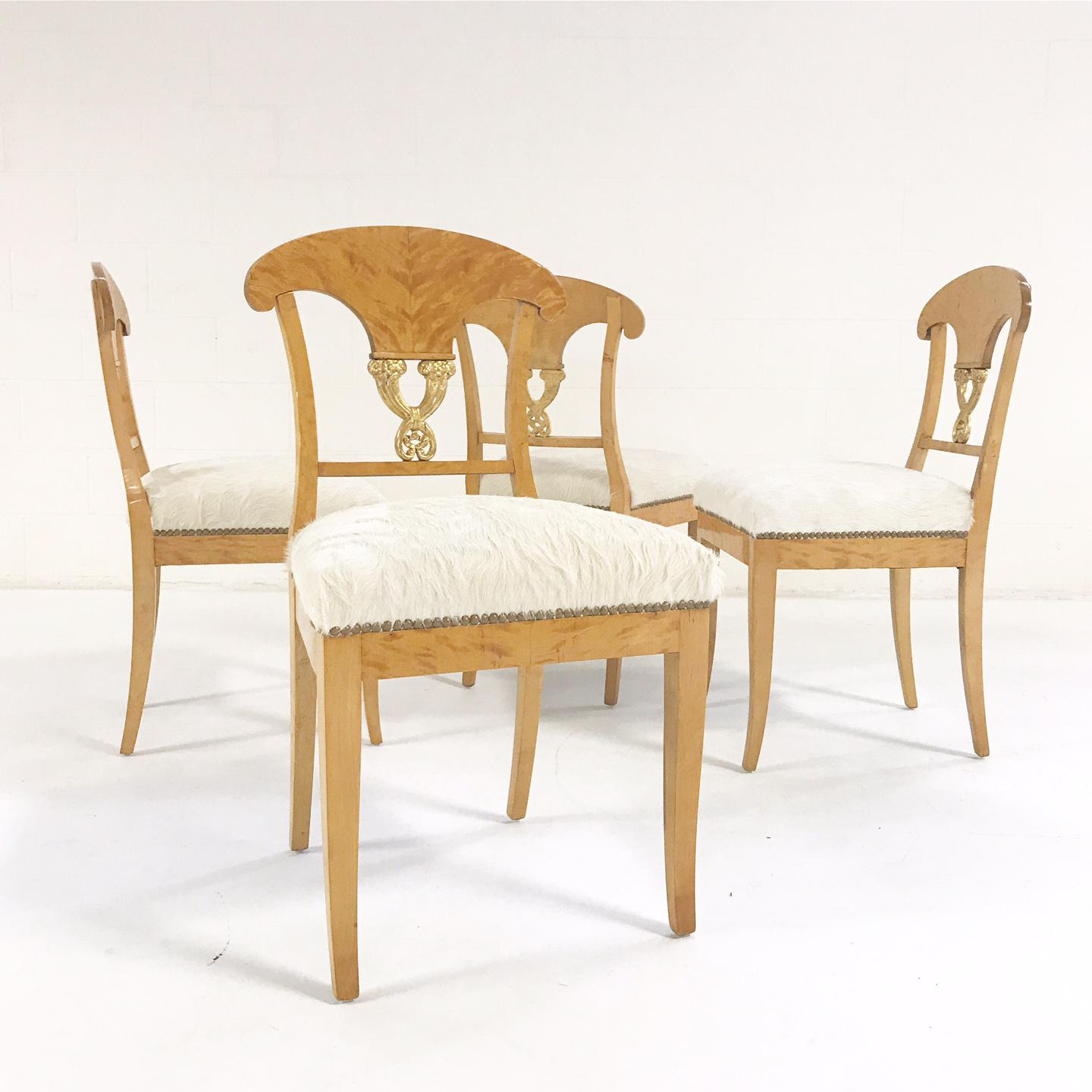 Biedermeier Forsyth One Of A Kind Circa 1820 Satin Birch Biedermeier Chairs  In Brazilian Cowhide