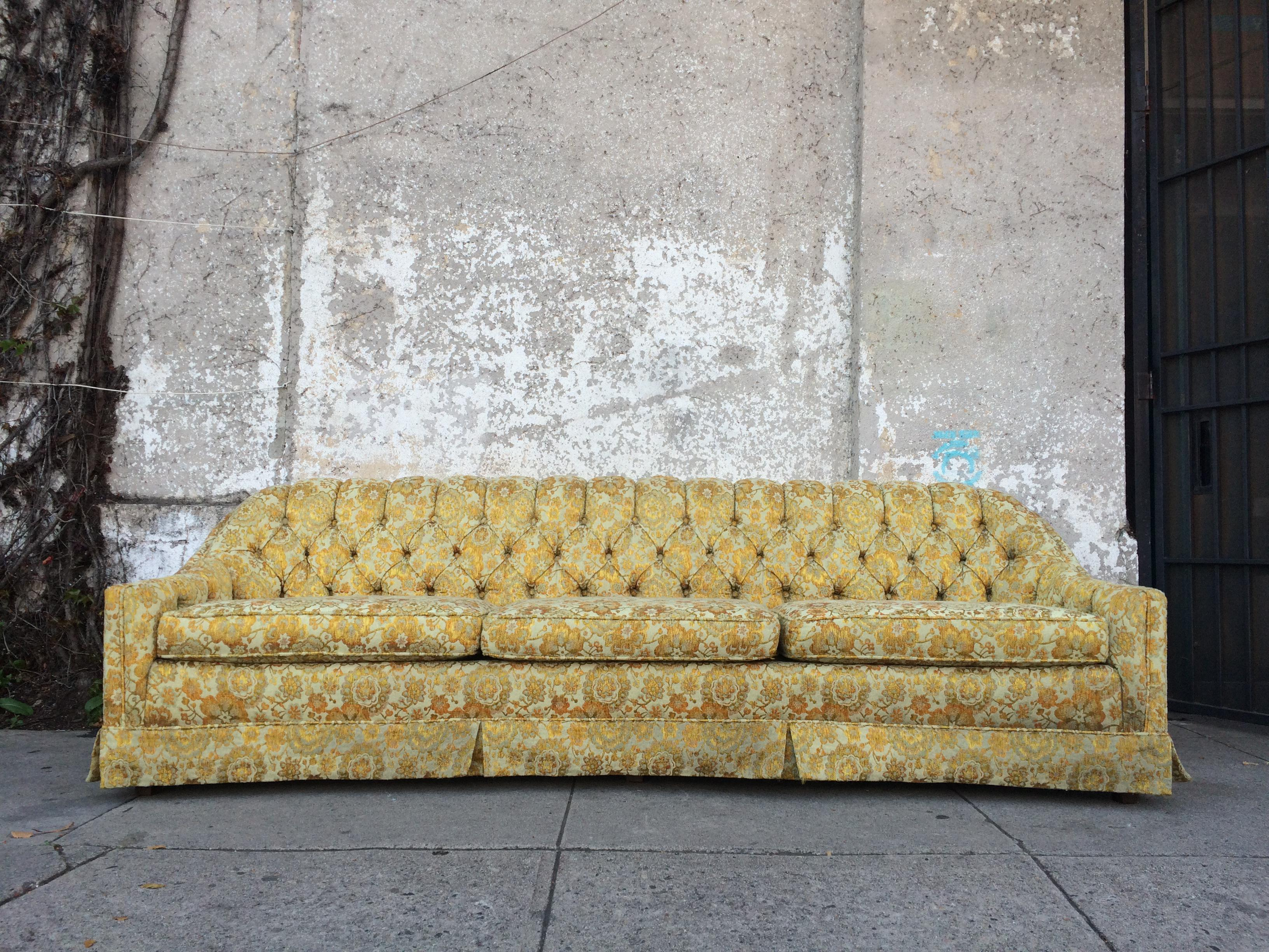 Vintage Mid Century Modern Tufted Sofa With A Gorgeous Yellow And Gold  Original Floral Fabric