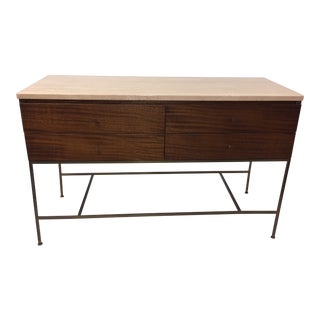 1950s Mid-Century Modern Paul McCobb for Calvin Furniture Irwin Collection Travertine Mahogany Console/Credenza For Sale