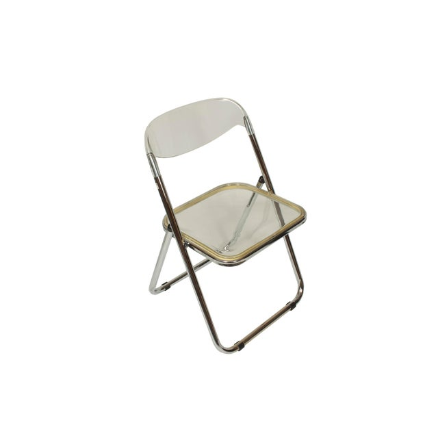 Hollywood Regency Italian Mid-Century Lucite Folding Chairs - Set of 4 For Sale - Image 3 of 9