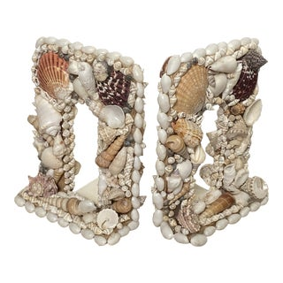 Seashell Encrusted Bookends For Sale