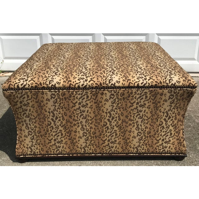 Antique Style Designer Ottoman Leopard Print Upholstery Footstool For Sale - Image 9 of 9