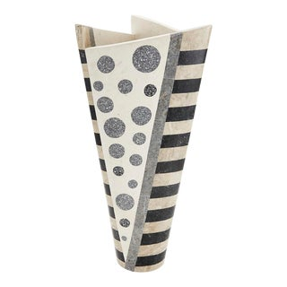 "1990s Vintage Black & White Postmodern Tessellated Stone ""Trio"" Vase For Sale"
