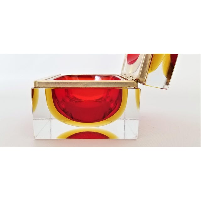 Murano Vintage 1970s Glass Jewelry Box by Alessandro Mandruzzato-Mid Century Modern MCM Hollywood Regency Italy Italian Bowl Vase For Sale - Image 9 of 13