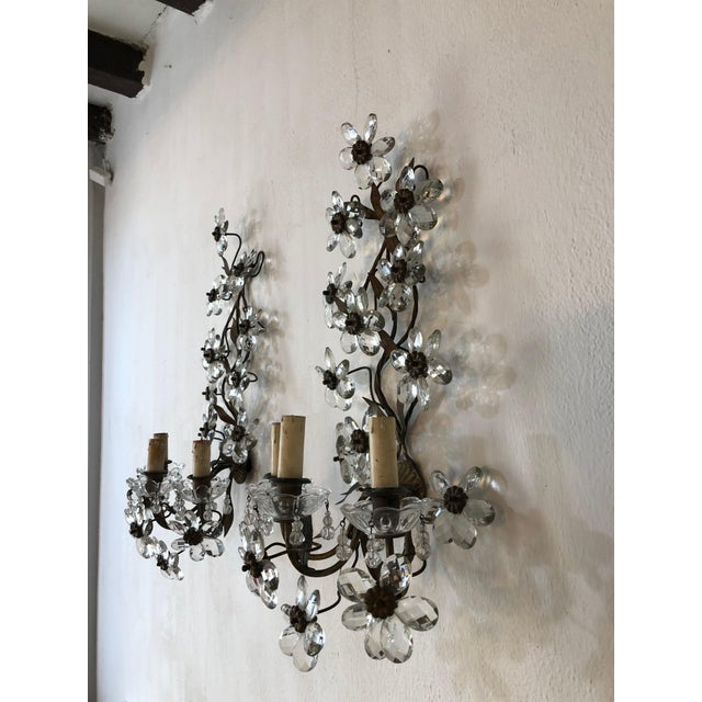 French Huge Clear Flower Maison Bagues Style Three-Light Sconces For Sale - Image 3 of 10