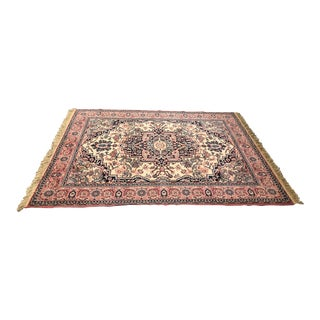 Persian Style Pink and Blue Hand Tied Area Rug - 7′7″ × 5′7″ For Sale