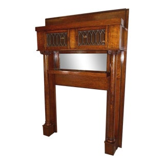 Rare Antique Oak Mantel With Leaded Glass Bookcase Top