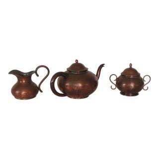 Vintage Copper Tea or Coffee Serving Set For Sale