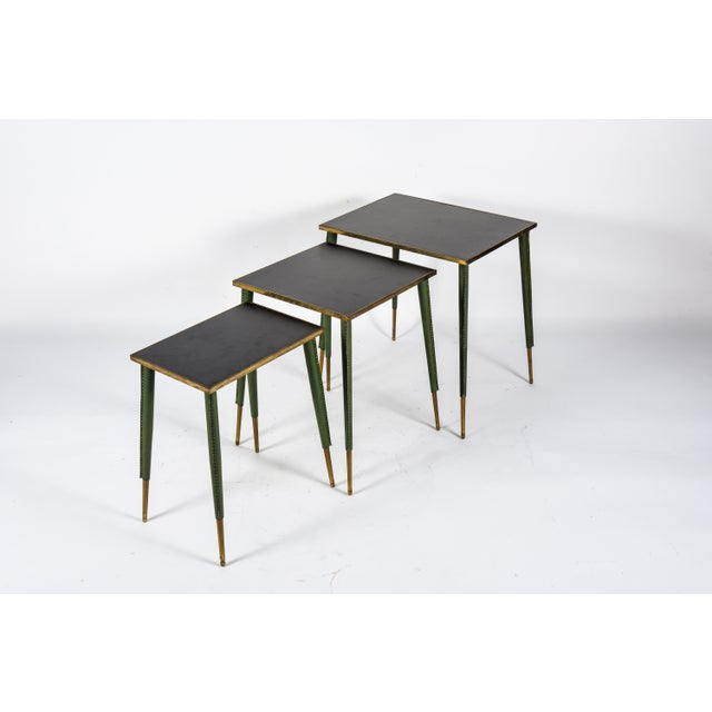 Rare Stitched Leather Nesting Tables by Jacques Adnet - Set of 3 For Sale In New York - Image 6 of 9