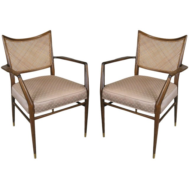 1950s Stylish Mid Century Walnut and Cane Armchairs - a Pair For Sale